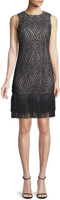 Julia Jordan Fringe-Hem Lace Dress