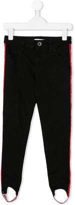 MSGM Kids logo trim stirrup jeans