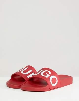 HUGO Logo Sliders in Red