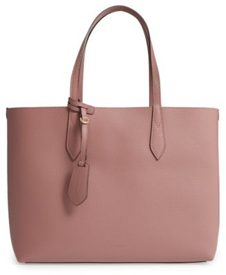 Burberry Medium Reversible Haymarket Check & Leather Tote - Purple $995 thestylecure.com