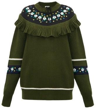 Miu Miu Floral Embroidered Wool Sweater - Womens - Green Multi