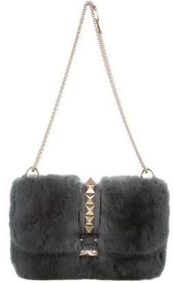 Valentino Mink Fur Rockstud Lock Bag
