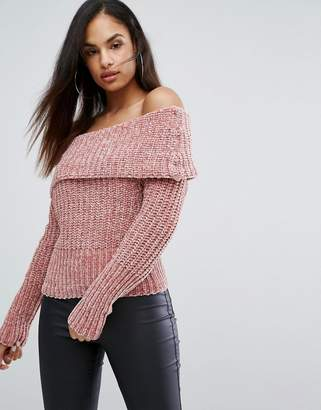 Lipsy Off Shoulder Jumper In Chenille