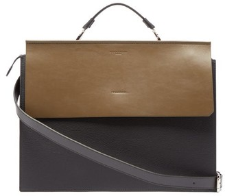 Nosakhari - Standout Two Tone Leather Briefcase - Mens - Black