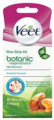 Veet Ready-To-Use Wax Strip Hair Remover Kit for Bikini Underarm and Face