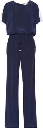 Tory Burch - Striped Silk Crepe De Chine Jumpsuit - Navy $395 thestylecure.com