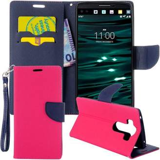 LG Electronics Kate Marie V10 Diary Wallet Flip Case With Magnetic Closure- Hot Pink Navy Blue