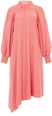 Tibi Viscose Twill Buckle Asymmetrical Dress