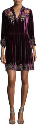 Johnny Was Flores 3/4-Sleeve Boho Velvet Dress w/ Floral Embroidery, Petite