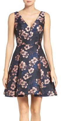 Women's Betsey Johnson Metallic Jacquard Fit & Flare Dress $158 thestylecure.com