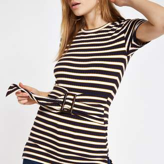 River Island Womens Navy stripe ribbed belted top