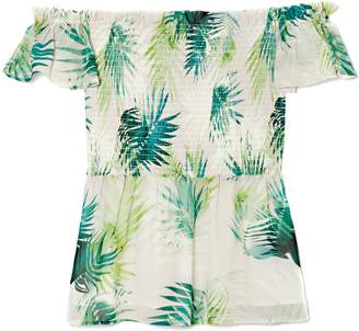 Vince Camuto Palm-print Off-the-shoulder Top