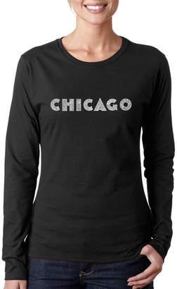 LOS ANGELES POP ART Los Angeles Pop Art Chicago Neighborhoods Long Sleeve Graphic T-Shirt