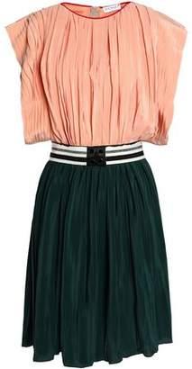 Vionnet Striped Two-Tone Silk-Satin Pleated Mini Dress