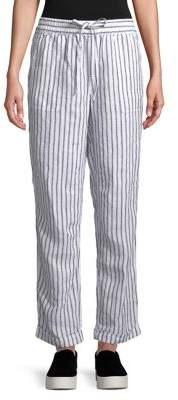 Lord & Taylor Petite Jaden Drawstring Striped Linen Pants