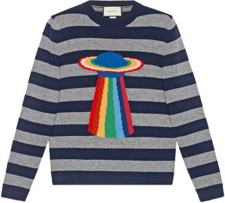 Gucci Planet intarsia striped sweater