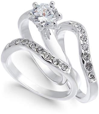 Charter Club Silver-Tone Crystal Wavy Ring