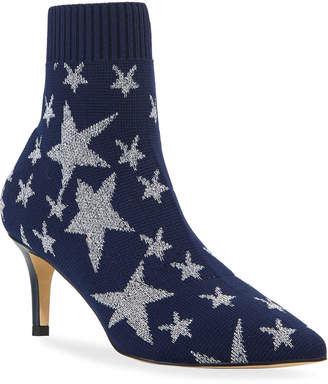 Neiman Marcus Meg Metallic Star Sock Booties