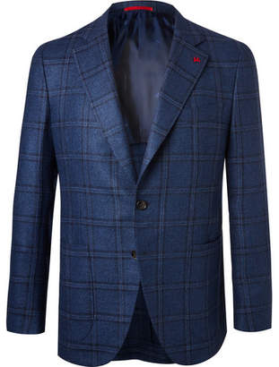 Isaia Blue Checked Wool and Silk-Blend Hopsack Blazer - Blue