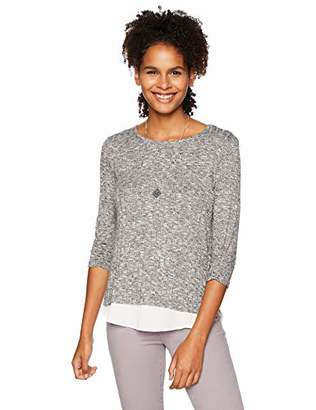 Amy Byer A. Byer Junior's Cinch Sleeve Knit Top with Chiffon Hangdown