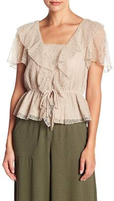 June & Hudson Lace Ruffle Tie Front Blouse
