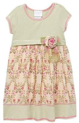 Gerson & Short Sleeve Ribbed Knit Babydoll Dress (Toddler Girls)