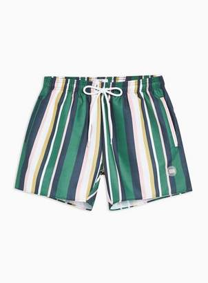 Topman Mens Multi Pastel Stripe Swim Shorts