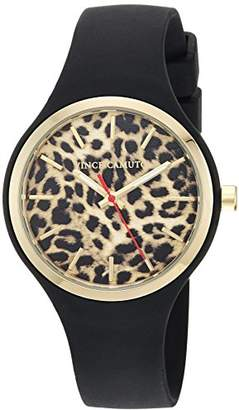 Vince Camuto Women's VC/5354LEBK Gold-Tone and Black Silicone Strap Watch