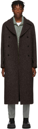 Jil Sander Brown Double-Breasted Overcoat