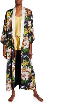 Olivia von Halle Queenie Tropicana Floral Long Silk Kimono Robe