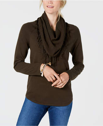 Style&Co. Style & Co Fringe-Trimmed Cowl-Neck Sweater, Created for Macy's