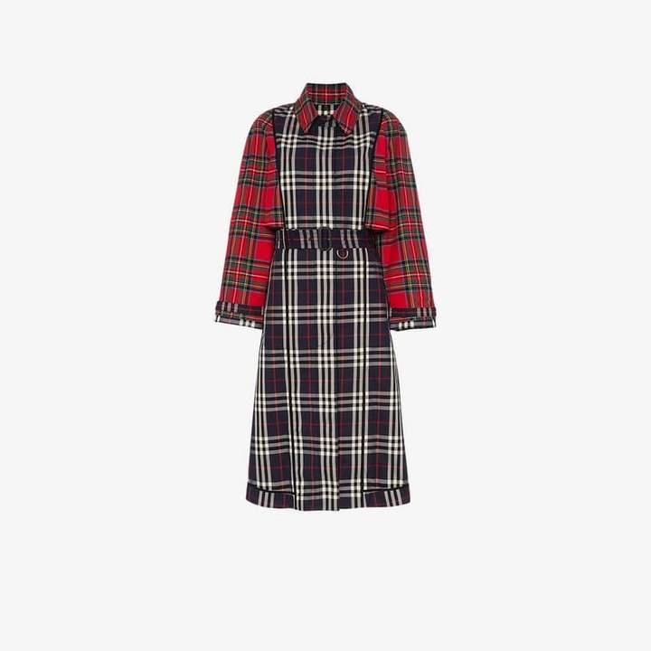 Check and Tartan Cotton Trench Coat