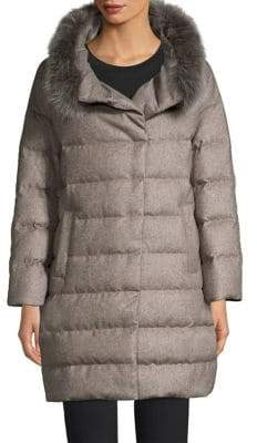 Herno Fox-Fur Trim Silk& Cashmere Puffer Jacket