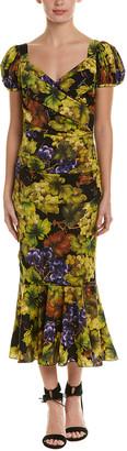 Dolce & Gabbana Ruched Silk-Blend Midi Dress