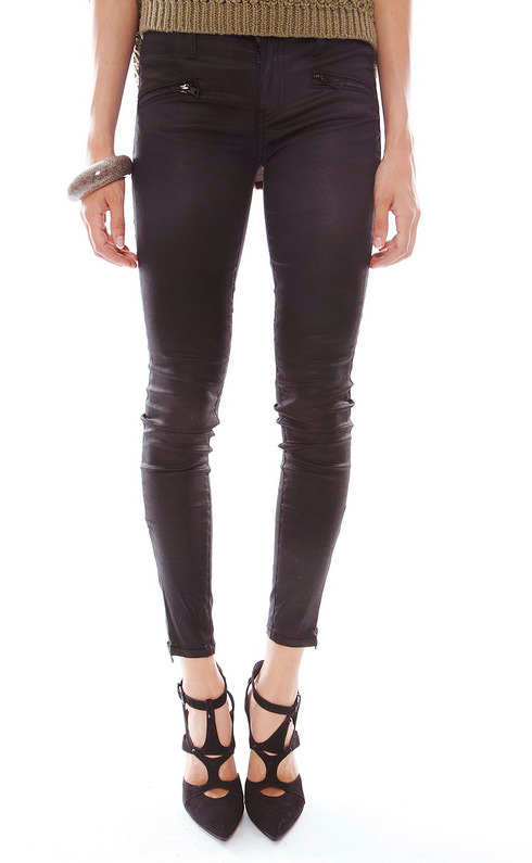 Current/Elliott The Soho Zip Stiletto Coated Jeans in Black Coated
