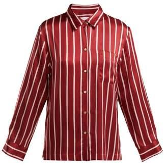 Asceno - Striped Silk Pyjama Top - Womens - Burgundy Stripe