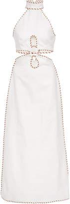 Zimmermann Braid-Trimmed Cutout Linen Midi Dress