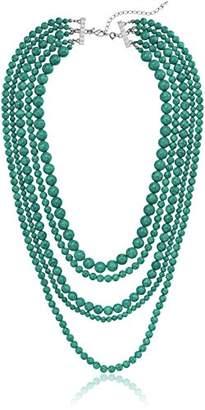 Stone 5-Row Multi-Beaded Strand Necklace