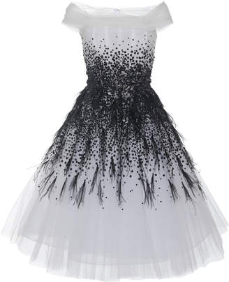 Pamella Roland Off-The-Shoulder Sequin Embellished Dress With Ostrich Feathers