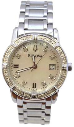 Bulova Stainless Steel with Mother of Pearl Dial and Diamond 26mm Womens Watch $175 thestylecure.com
