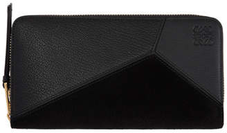 Loewe Black Suede Puzzle Zip Around Wallet