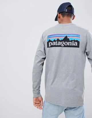 Patagonia P-6 Logo Long Sleeve Responsibili-Tee Top in Grey