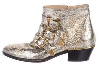 Chloé Metallic Studded Ankle Boots
