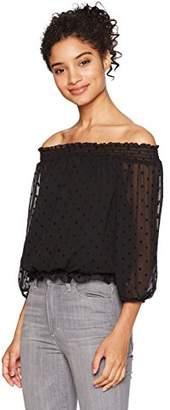 Amy Byer A. Byer Junior's 3/4 Sleeve Shirred Off Shoulder Top (Junior's)