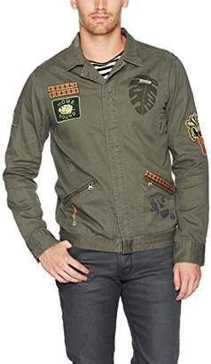 Scotch & Soda Men's Worked-Out Shirt Jacket in Twill Quality with Badges