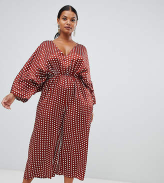 659d229d01d Missguided Plus kimono sleeve culotte jumpsuit in polka dot