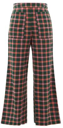 Ace&Jig Laura Checked Cotton Wide Leg Trousers - Womens - Green Multi