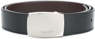 Coach wide plaque cut-to-size reversible belt