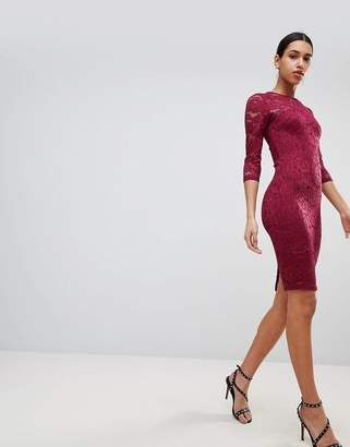 AX Paris 3/4 Sleeve Lace Midi Dress