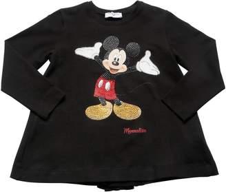 MonnaLisa Mickey Mouse Print Cotton Jersey T-Shirt